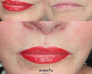 makijaż permanentny ust kontur z wypełnieniem